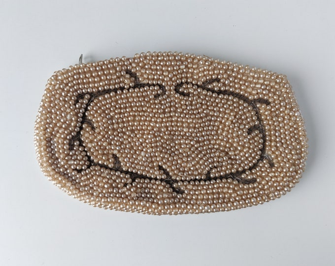 Faux Pearl Beaded Vintage Evening Purse - Classic Champagne Coloured Formal zippered Clutch Coin Purse - Flapper or Great Gatsby Gift