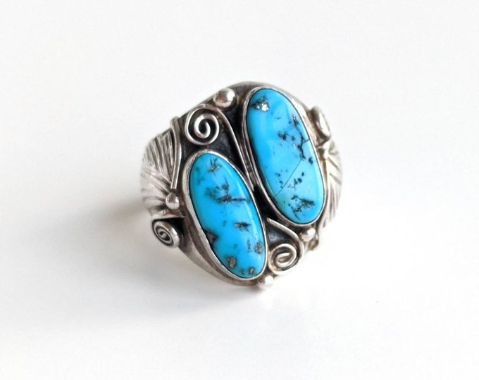Turquoise and Sterling Silver Botanical Old Pawn Ring Size 13 - Bohemian Southwestern Men's Vintage Ring