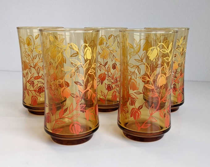 Set of 5 Amber Glass Floral Vine Ombre Tumblers - Vintage Barware