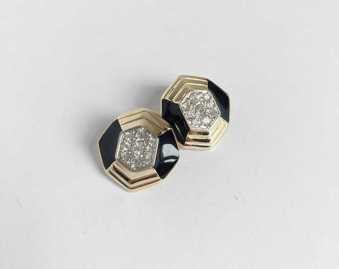 Vintage Soleil Art Deco Geometric Clip On Earrings - Gold, Black, and clear crystal rhinestones - Elegant Octagonal Gold Tone Earrings