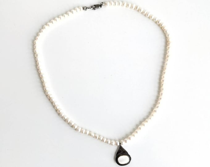 Freshwater Pearl Strand Necklace with Sterling Silver 925 Clasp and Pendant - Vintage Pearl Necklace