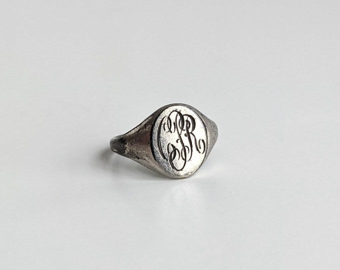 Vintage Silver PCR Monogrammed Signet Ring Size 3.25 - Small Silver Personalized Engraved Ring