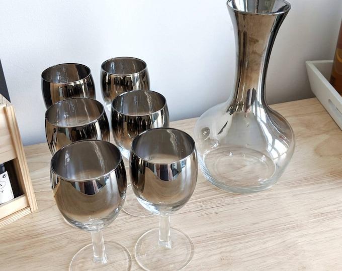 Silver Ombre Mercury Glass Decanter Set - Vintage Mid Century Modern Barware - Mad Men Style Bar Set