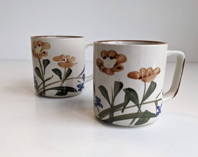 Hand Painted Vintage Floral Stoneware Mugs - Set of 2 Chi Kang style Tea cups