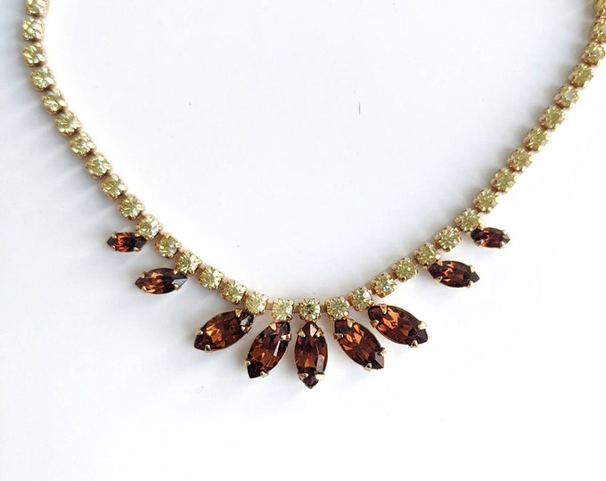 Vintage Sherman Necklace - 1950s Costume Swarovski Crystal Jewellery Choker Length Necklace - Cognac Brown and Peridot Green