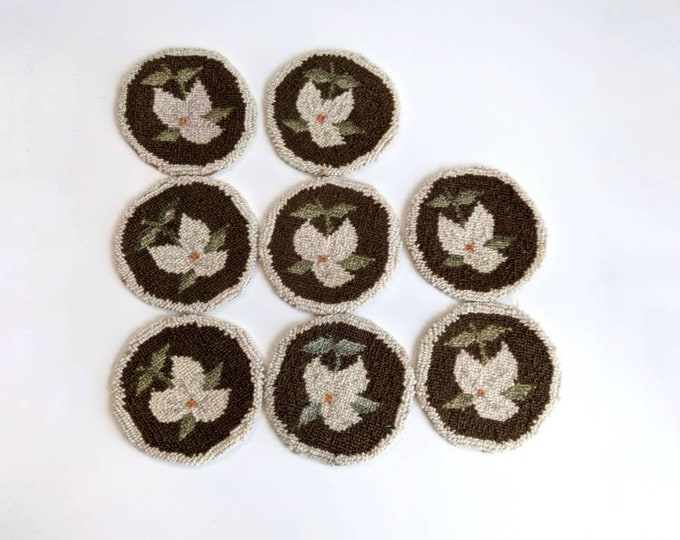 Primitive Handmade Punchneedle Coasters with Floral Trillium Motif Set of 8 - Vintage Needlework Embroidery Coasters - Shabby Chic Decor
