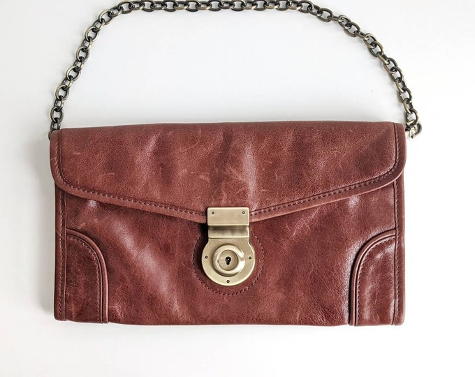 Via Spiga Small Brown Leather Shoulder Purse or Handbag with Brass Chain Strap and Faux Lock Clasp