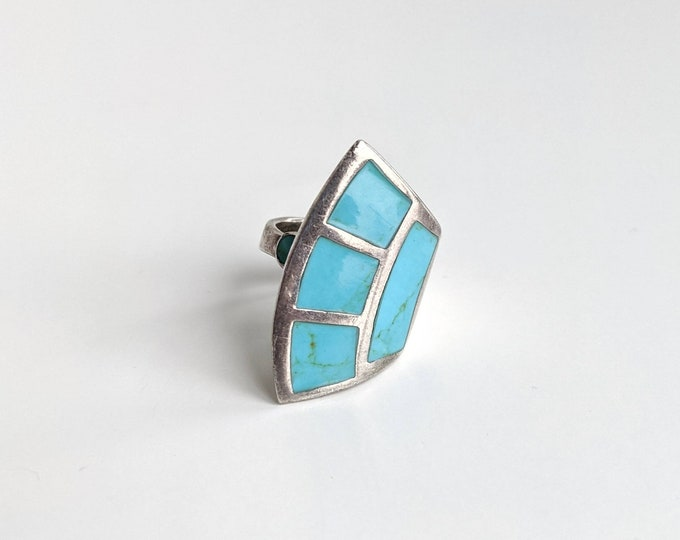 Sterling Silver and Turquoise inlay Asymmetrical Bypass Adjustable Statement Ring | Geometrical Fan Shaped Southwestern Bohemian Ring