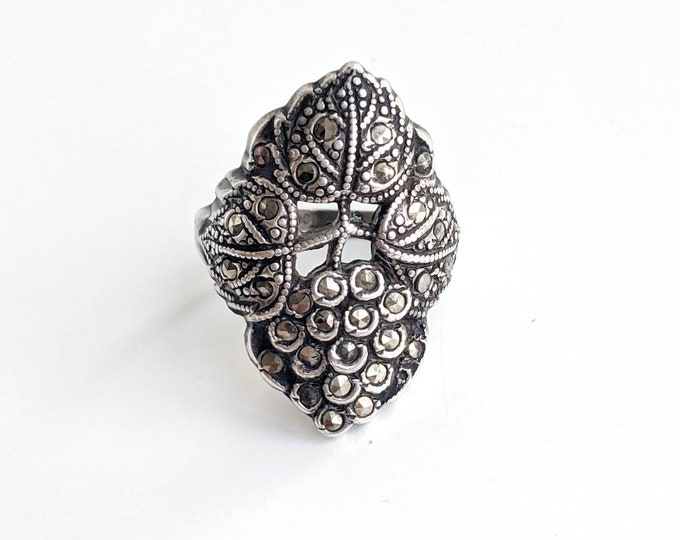 Art Nouveau Sterling Silver and Marcasite Botanical Ring Size 4.75 - Detailed Grapes and Grape Leaves - Vintage Oxidized Statement Ring
