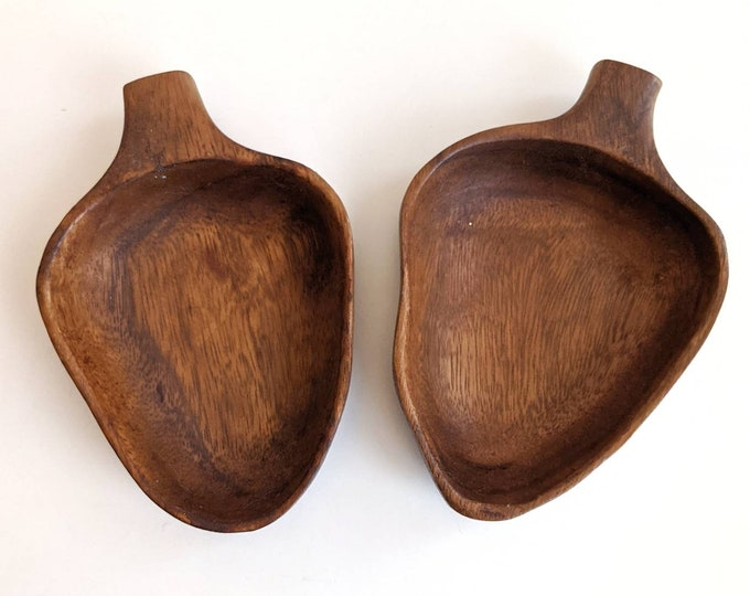 Set of Two Vintage Teak Wooden Acorn Shaped Bowls - Small Salad Bowls, Snack Bowls, Trinket Dishes
