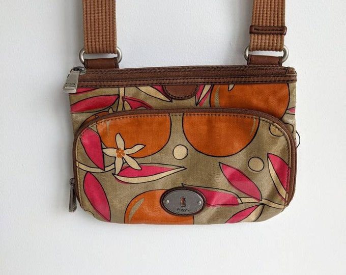 Vintage Fossil Key Per coated canvas and leather crossbody bag with citrus motif - Retro Pink, Orange, and Tan KeyPer purse