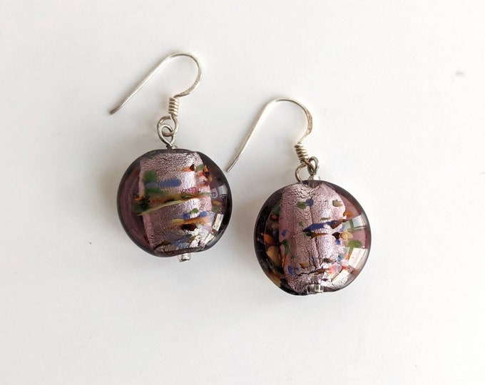 Pink Dichroic Glass Bead Dangle Earrings with Silver 925 Hooks