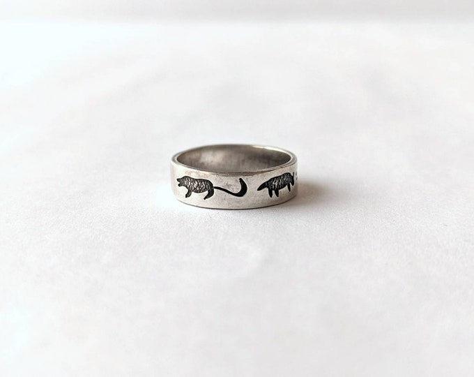 Sterling Ring Designed in a Hopi Overlay storyteller style with Enamel Animals - 925 band with black oxidized Animals