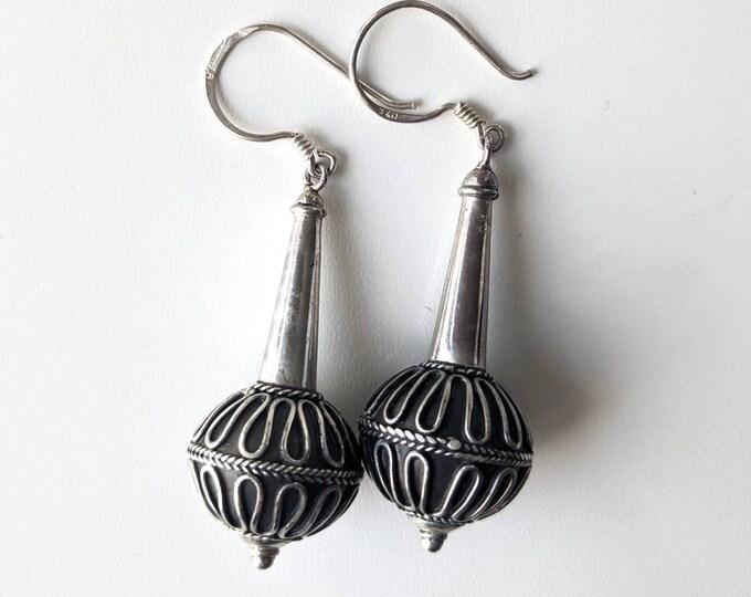 Sterling 925 Silver Long Drop Dangle Bali Style Earrings - Vintage Tribal Ethnic Earrings
