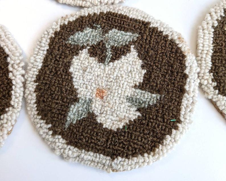 Shabby Chic Decor Vintage Needlework Embroidery Coasters Primitive Handmade Punchneedle Coasters with Floral Trillium Motif Set of 8
