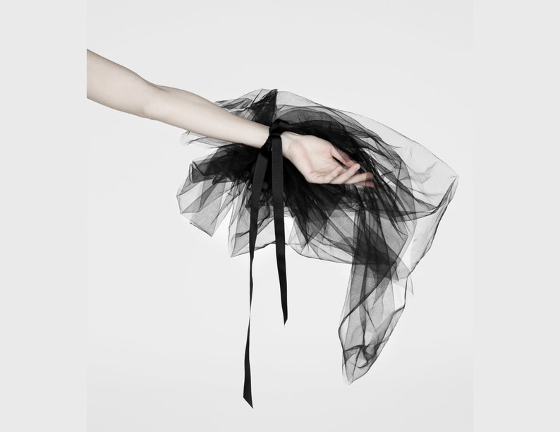 Black tulle flower bow collar  burlesque tulle bustle  fairy tail wedding flower cuff  detachable tulle train skirt  black peony choker