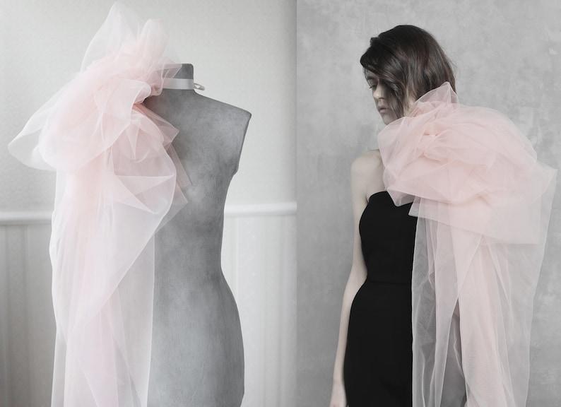 Bridal  blush flower bow collar  wedding tulle overskirt  pregnancy boudoir flower sash  Detachable tulle skirt  large flower corsage