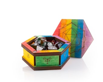 Rainbow Collection - ttrpg accessories in hand painted lgbtq+ Pride flag - Dice
