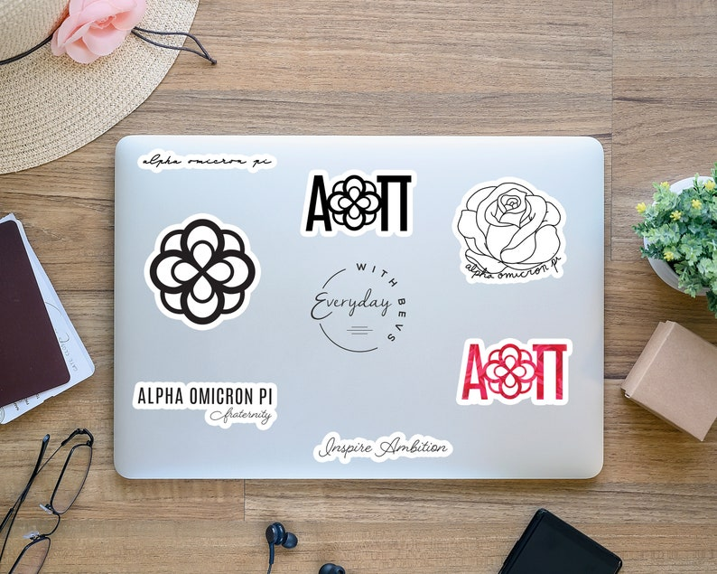 Sorority Stickers for AOPi Sisters and Alumni Friends Set of 14 Alpha Omicron Pi Minimalistic Water Resistant Sticker Pack