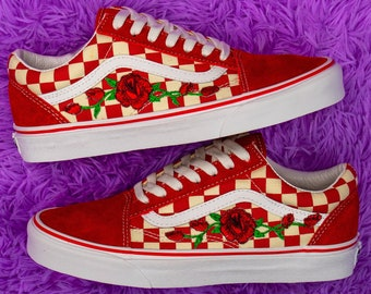 Vans shoes with roses   Etsy