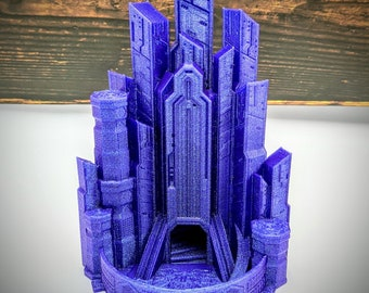 Cyberpunk Cyber Cityscape Dice Tower from FatesEnd Terra & Cosmos by Kimbolt Creations - 2 Sizes - Dungeons and Dragons, Pathfinder, TTRPG