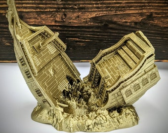 Wrecked Pirate Ship Dice Tower - Shipwreck Dice Tower from FatesEnd Terra & Cosmos by Kimbolt Creations - 3 Sizes - DnD, Pathfinder, TTRPG