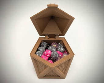 D20 Hinged Dice Chest from Makers Anvil - Holds 7+ Standard Sized Polyhedral Dice Sets - Dungeons and Dragons, Tabletop, Pathfinder