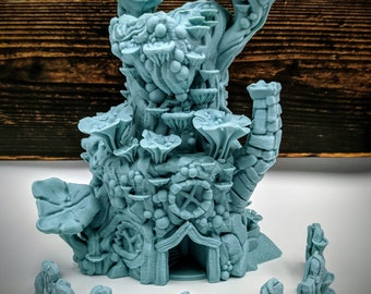 Fairy Mushroom House Dice Tower from Stratation Design - Available in 2 Sizes (Mini tower includes mini dice) DnD, Pathfinder, Shadow Run