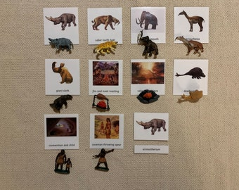 Montessori Prehistoric Life  and Animals 3 Parts Cards with Miniatures