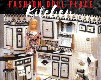 Fashion Doll Kitchen Plastic Canvas Pattern PDF Furniture / Barbie Kitchen /Vintage 7ct Plastic Canvas Pattern Digital Download