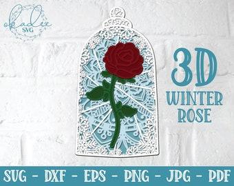 3D Winter Rose Mandala, Layered Rose Mandala, Rose Papercut, Enchanted Rose SVG, Snowflake Svg, Snowflake papercut, fantasy svg, winter svg