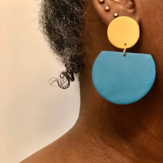 Polymer Clay Earrings, Mustard and Teal Liza Statement Earrings,