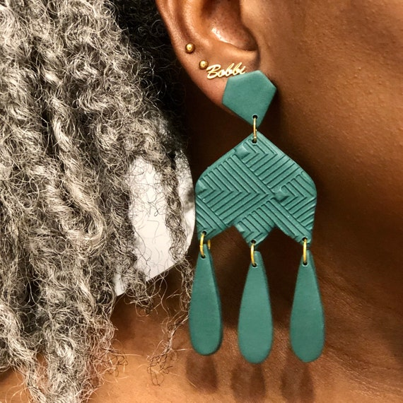 Polymer Clay Earrings, Textured Dangle Statement Earrings, Forest Green