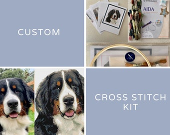 Custom counted cross stitch kit - Personalised DIY embroidery kit by CROSS & STITCH
