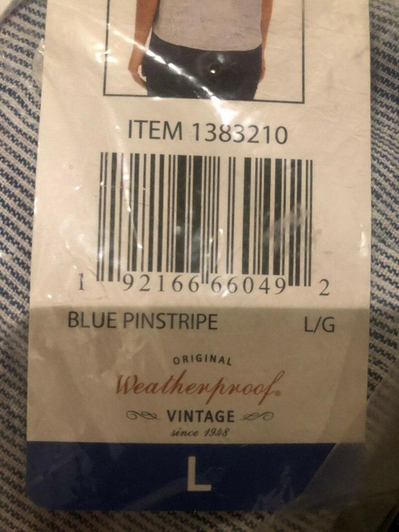 LRG BLUE PINSTRIPE Weatherproof Vintage Ladies/' Tie Front Top