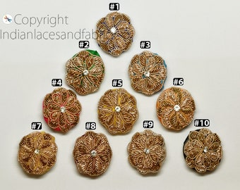 Handcrafted Fabric Button embroidered Sold by 5 Pieces Crafting Sewing Accessories Indian Embellishment Decorative Boutique material button