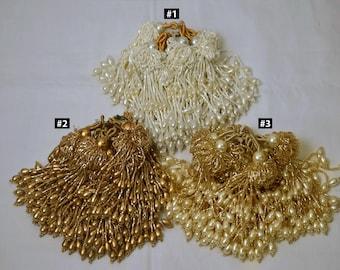 TASSELS Handmade Tassels Beaded Charms Set of 2 BLACK Beaded Tassels Brass Coin Tassels Latkans Cotton Tassels Indian Tassels