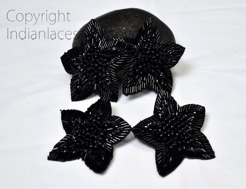 5 Pieces Black Handmade Beaded Floral Indian Patches Appliques Dresses Bugle Beads Applique Decorative Sewing Patches Crafting Sewing