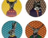 Quirky Woodland Creatures English Tableware Co. After Dark Ceramic Coasters