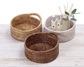 Rattan Round Spa Tray with Handle -Dia20cm x H8cm