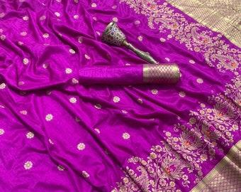 Indian saree,wedding saree designer saree,sari,saris Pink pure silk Orginal mina jari with heavy weaving work saree blouse for women