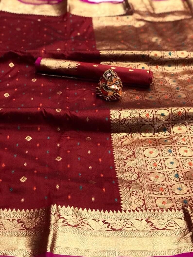 Soft silk with attractive zari border Saree And blouse for women,saree for women,wedding saree,indian saree,sari,saris Red saree