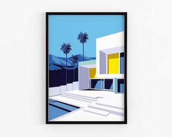 City Art Architecture LA Poster Travel Living Room Wall Art Los Angeles City Print Mid Century Modern California Art Birthday Gift