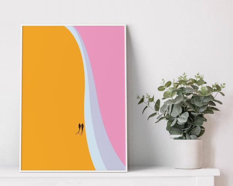 Beach poster printRomantic posterMinimal artGift for friend