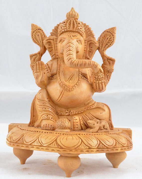 Wood Spcial Sitting Ganesh Decorative Indian Lord Ganesh Wooden Statue Lucky Figurine LIving Room Ornament Showpiece for Housewarming Gift
