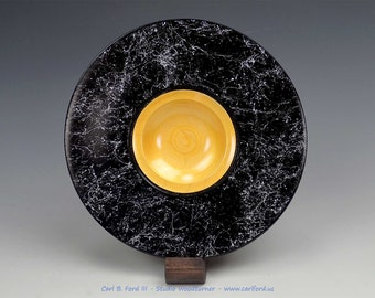 """Striking Black & Silver Spider Wide Rim Bowl, with Gold Center Spiral, 8-1/2"""" Wide, Semi-gloss Acrylic Finish, Gift, Present"""