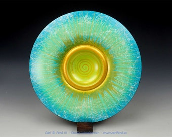 """Stunning Turquoise & Green Summer Wide Rim Bowl, with Gold Rim, Gold Center Spiral, 10"""" Wide, Semi-gloss Acrylic Finish, Gift"""
