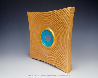 """Eye-catching Blue Eye Square Artwork, with Gold Rim and Blue Center, 10"""" Wide, Semi-gloss Acrylic Finish, Gift"""