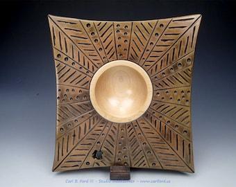"Stirring Bronze Galaxy Square Wide Rim Bowl, Maple Wood, 10-3/4"" Tall, 10"" Wide, Semi-gloss Acrylic Finish, Gift, Fathers Day"