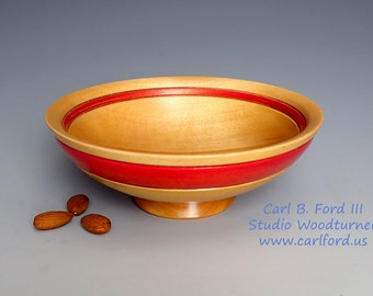 Red Banded Cherry Wood Bowl - Hand Turned Wood Art